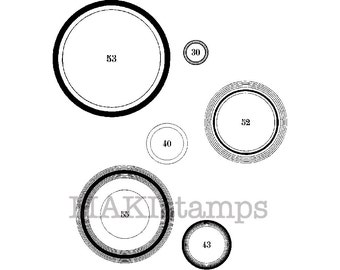 Rubber stamp background / Circles rubber stamp / Unmounted rubber stamp or cling stamp option (150612)