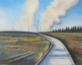 Wyoming Yellowstone National park sunrise boardwalk geysers trees original landscape painting USA road trip atmospheric light rustic western