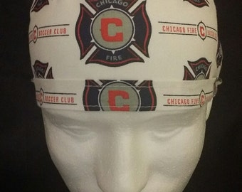 Chicago Fire Soccer Club Football MLS Tie Back Surgical Scrub Hat