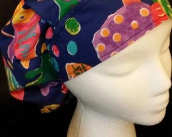 Rainbow Fish Fishing Seaside Fun Bouffant Style Surgical Scrub Hat