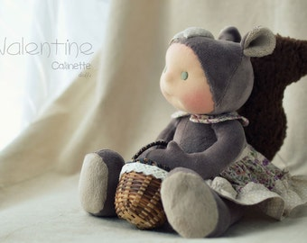 "Valentine, girl Squirrel doll 13"" Made to order by Calinette"