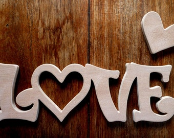 """Love - A Fantastic Hand Crafted MDF Novelty Word Plaque - 10.5"""" x 3.5"""" - FREE SHIPPING!"""