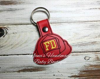 Fire Helmet - Fireman- Firefighter - In The Hoop - Snap/Rivet Key Fob - DIGITAL EMBROIDERY DESIGN