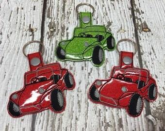 Dune Buggy - Beach Buggy - Snap tab -  Key Fob In The Hoop - DIGITAL Embroidery DESIGN