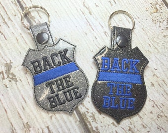 Back The Blue - POLICE - Cop - Law Enforcement - In The Hoop - Snap/Rivet Key Fob - DIGITAL Embroidery Design