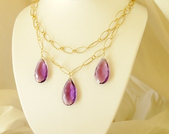 DIVINE AMYTHIST NECKLACE,lg. amythist drops on gold filled chain,vermeil lobster clasp
