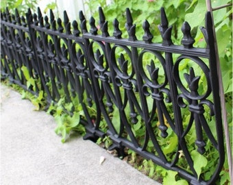 Victorian Garden Fence Black Painted Finish Old English Lawn Edging Aluminum Heavy