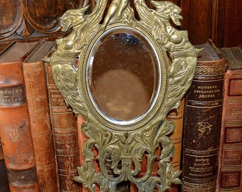 Antique French Bronze Beveled Wall Mirror Cherub & Winged Griffins Dragons Rare Find 2 Available Sold Individually
