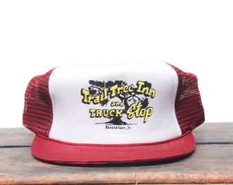 Vintage Trail Tree Inn & Truck Stop Indiana Maroon Burgundy Trucker Hat Snapback Baseball Cap