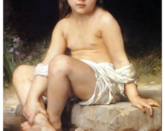 "A Child at Bath by William Adolphe Bouguereau 11 x 14"" canvas art print  A Child at Bath by William Adolphe Bouguereau"