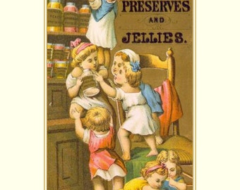 """Advertising for Thurber's Fruit Preserves and Jellies, Kids getting into the pantry 11 x 14""""  canvas art print"""