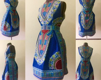 Dashiki Dress: Blue African Print Dashiki Dress