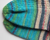 Socks art for your feet turquoise emerald handknit selfstriping yarn dyed after paintings of Hundertwasser Made To Order in your size