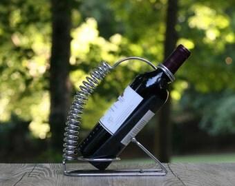 Vintage Modernist Wine Bottle Caddy / Spiral Handle Wine Bottle Caddy / Mod Wine Bottle Holder