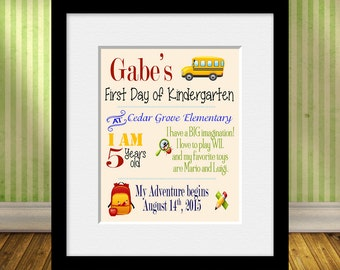 1st Day of School, Personalized Back to School, Fun First Day of School Print, 1st Day of Kindergarten, Personalized 1st Day of School