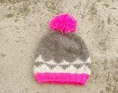 Neon Pink & Grey Wool Beanie - Geometric Beanie - Warm Wool Hat
