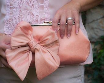 Bridesmaid bow clutch, peach Clutch   Bow Clutch   Bridesmaid Clutch [Classic Bow Clutch: