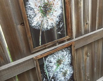 Set of 2 dandelion art , recycled wood frame painting on screen DANDELION,Made to order!!!!