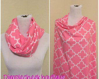 Bubblegum pink quatrefoil Breastfeeding scarf/shawl