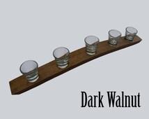 The Original 5 Glass Shot Flight, Barrel stave, Dark Walnut, Barrel Art