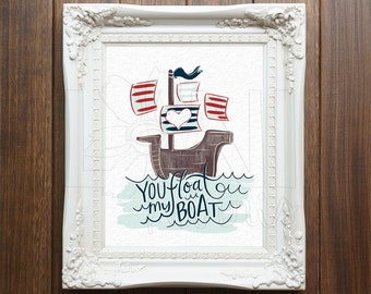 Nursery Wall Art Printable, Instant Download File, You Float My Boat Art, 8x10 home decor print