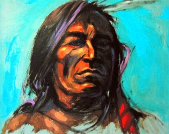 BONE CARRIER - Native American Portrait on Canvas