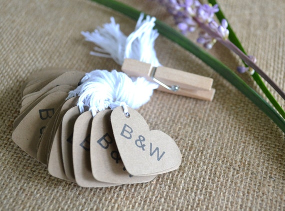 wedding favor tags, kraft mini heart bulk hang tags with string, bulk ...
