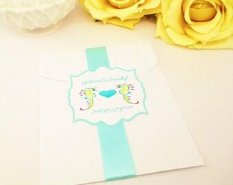 20 Pool Blue Wedding Favor Bag and Sticker, Aqua Candy Bag, Beach Wedding Gift Bag, Seahorse Cookie Bag, Destination Wedding Candy Bag