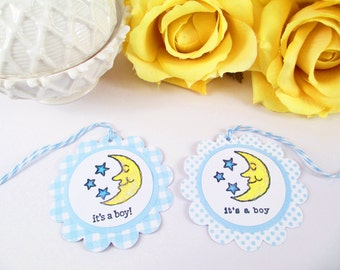 10 Baby Tags... Gift Tags, Baby Shower Boy Favor Tags, Moon and Stars Thank You Tags, It's a Boy Bag Tags, Blue Baby Shower Tags