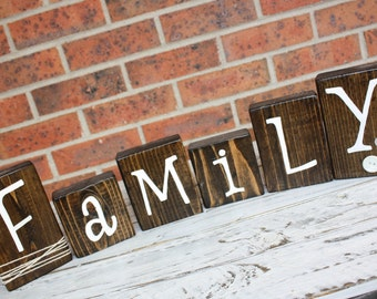 Wooden Family Blocks, Wedding Gift Ideas