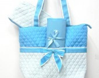 Machine Embroidered Quilted Diaper Bag- Quilted Diamond Pattern in Pink or Light Blue