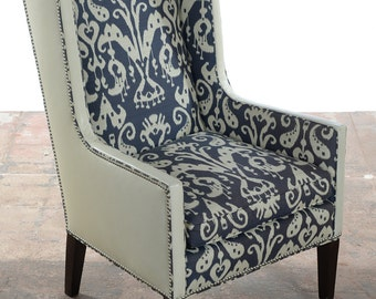 Living Room Funky Leather Wing Chair by Lee -Designer
