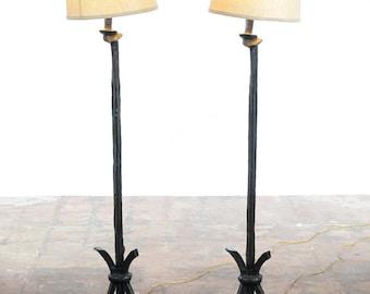 Mid Century Modern Pair of Designer Bronze Floor Lamps-c.1950s