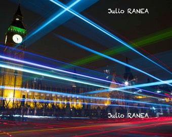 Digital download: London by night. Digital photography. long exposure. Big Ben photo. Trail light photography.