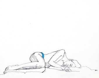 "Fine art print, mixed media drawing, semi nude woman lying down, blue underwear, ""Blue State"""