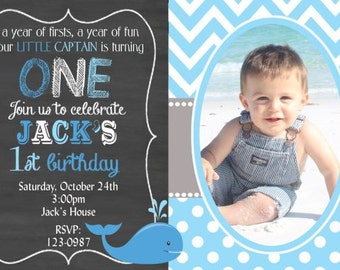 Whale Birthday Invitation, Whale Theme Party Invite, Boy or Girl Birthday, Any age, Chalkboard with photo,  You Print  Digital Invitation