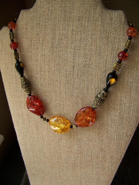 Amber Necklaces, Stone necklaces, Polish jewelry,Black beaded jewelry, tribal jewelry #54