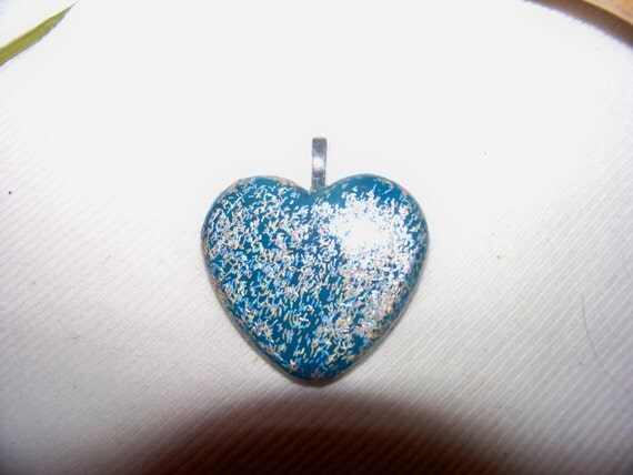 Pendant - Aqua Blue Fuzzy Heart