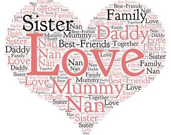 Personalised Word Art love, anniversary, wedding, family gift, keepsake