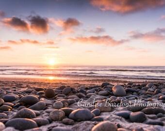 Large Acrylic Print, 20x30, Sunset n Pebbles, Ocean Photography, Fine Art Photography, Wall Art, Beach, Sand, Ocean Sunset, California