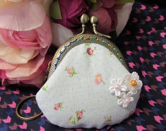 Handmade Flower Print Lace flower Lock Coin Purse Coins Bag Small Pouch (6cm)
