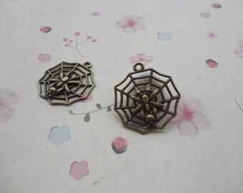 10pcs antique bronze color metal spider web charm , metal spider web pendant , 27x27mm , CP824