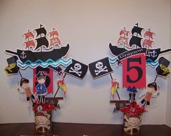 Pirate party centerpiece picks -double sided- Four