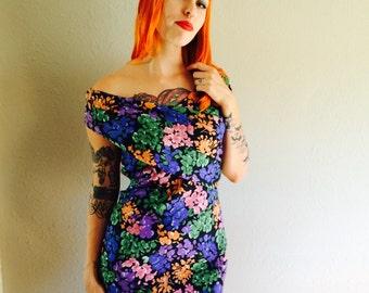 VTG 1980s off shoulder flower print dress