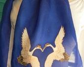 Silk Scarf Handpainted. Indigo, White, Black Hand Dyed Silk Scarf. Handmade Silk Scarf LOVING CRANES. Rectangular 8x54. Birthday Gift