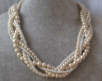 champagne and ivory mixed Necklaces, five stand twist Glass Pearl Necklace, champagne Pearl Necklace, small ivory pearl Necklace