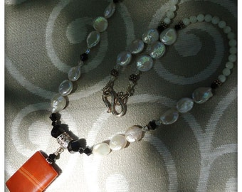 """Red Agate and Pearl Sterling Silver Necklace 18"""""""