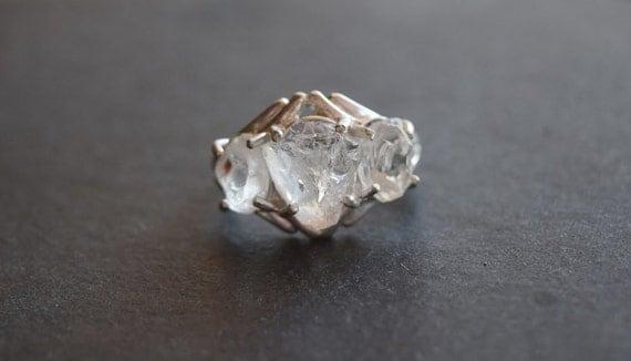 Boho Raw Diamond Engagement Ring Rough Diamond Wedding Band