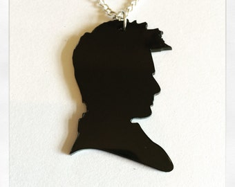 Doctor Who David Tennant Inspired Silhouette Acrylic Necklace
