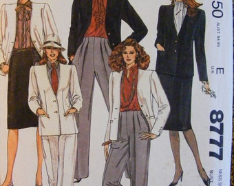 1980's Misses' Jacket Skirt Pants Uncut McCall's Sewing Pattern 8777 Size 12